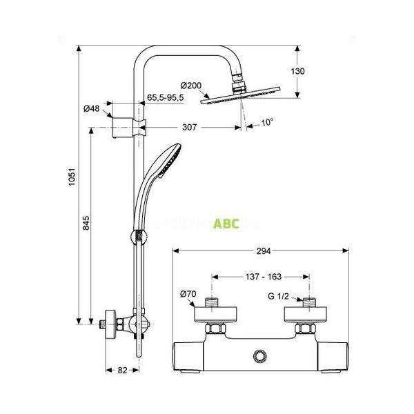 zestaw prysznicowy termostatyczny z deszczownic okr g. Black Bedroom Furniture Sets. Home Design Ideas