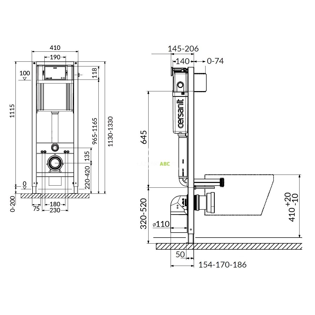Stelaz Podtynkowy Do Wc 40 Cm Cersanit Aqua 22 S97 048