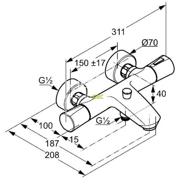 Bateria Termostatyczna Wannowa Natryskowa Kludi Zenta 351019138