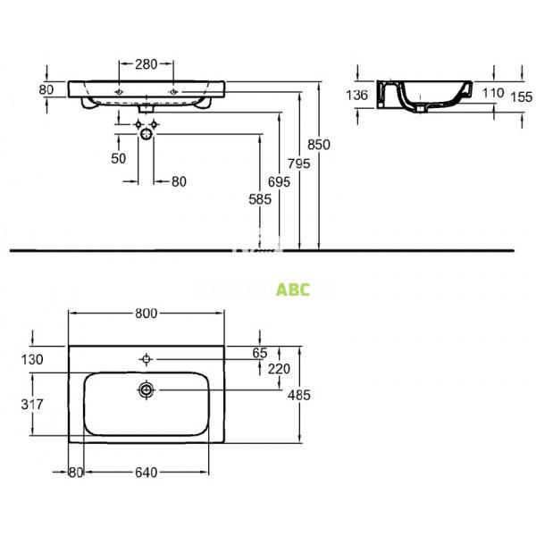 Umywalka 80x485 Cm Z Otworem Koło Modo L31980900 Reflex
