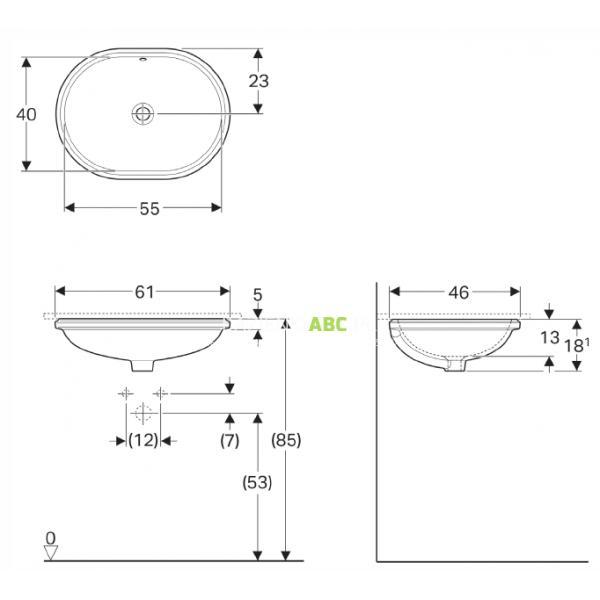 Umywalka Podblatowa 55 Cm Koło Variform 500756016 Eliptyczna