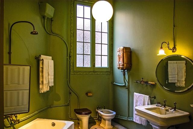 zielona łazienka retro