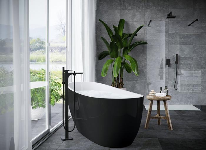 wizualizacja czarnej łazienki