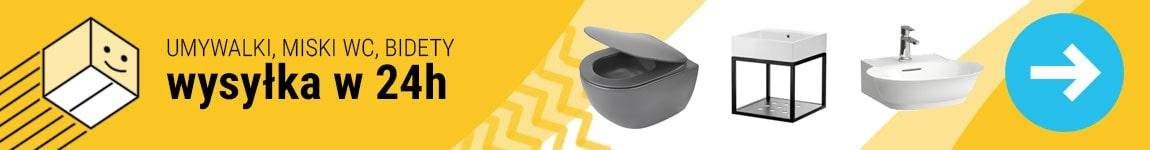 Umywalki, miski WC, bidety - dostepne w 24h - szybka wysyłka z własnego magazynu!