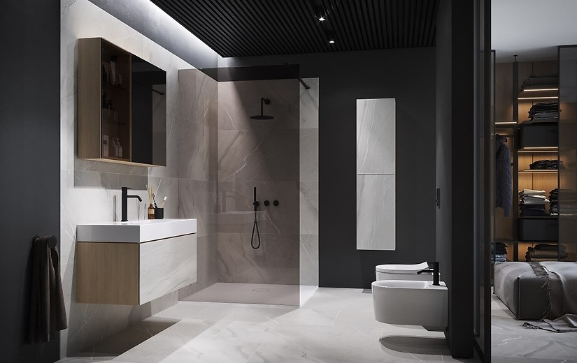 Nowoczesny minimalizm czarnej armatury łazienkowej