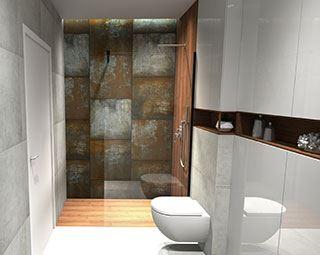 Połączenie drewna i betonu w aranżacji łazienki