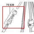 Śrubunek wraz z zaciskiem i uszczelkami łączący wąż baterii kuchennej z baterią Kludi OBJEKTA 7563900-00