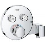 Bateria termostatyczna do obsługi dwóch wyjść wody, ze zintegrowanym przyłączem i uchwytem prysznicowym Grohe SmartControl 29120000