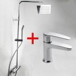 Bateria umywalkowa + zestaw natryskowy z głowicą kwadratową 20 cm i baterią termostatyczną ścienną Tres FLAT-TRES 2043870210