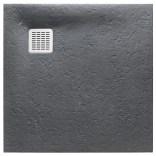 Brodzik kwadratowy 80 cm z syfonem w komplecie Roca TERRAN AP10332032001200 szary łupek