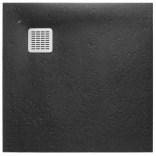 Brodzik kwadratowy 80 cm z syfonem w komplecie Roca TERRAN AP10332032001400 czarny