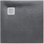 Brodzik kwadratowy 90 cm z syfonem w komplecie Roca TERRAN AP10338438401200 szary łupek
