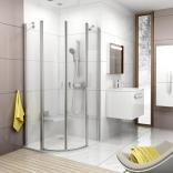 Czteroczęściowa półokrągła kabina prysznicowa 90x195 Ravak CHROME 3Q170U00Z1