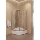 Kabina prysznicowa półokrągła 80x165 cm drzwi przesuwne, szkło grafitowe 6 mm New Trendy PRAKTIC K-0002