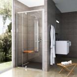 Drzwi prysznicowe 100x190 cm PDOP2 satyna+transparent Ravak PIVOT 03GA0U00Z1