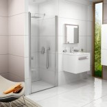 Drzwi prysznicowe 80x195 profil satyna, szkło transparent Ravak CHROME 0QV40U00Z1