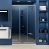 Drzwi prysznicowe 90x185 cm ASDP Ravak SUPERNOVA 00V70U02Z1 satyna transparent