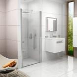 Drzwi prysznicowe 90x195 profil biały, szkło transparent Ravak CHROME 0QV70100Z1