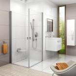 Drzwi prysznicowe CRV1-90 Ravak CHROME 1QV70101Z1 biała + transparent