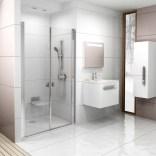 Drzwi prysznicowe CSDL2-90 Ravak CHROME 0QV7C10LZ1 białe + transparent