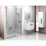 Drzwi prysznicowe, dwuczęściowe 110x195 profil biały, szkło transparent Ravak CHROME 0QVDC100Z1