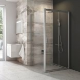 Drzwi prysznicowe przesuwne  117x121x190 cm profil satynowy szkło transparentne Ravak BDLP2-120 0PVG0U00Z1