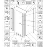 Element ruchomy do kabiny kwadratowej 80 cm, szkło hartowane Sanplast PRESTIGE III 660-E1365