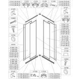 Element ruchomy do kabiny kwadratowej KN/NST-c 80 cm, polistyren, profil srebrny matowy Sanplast NOWY STANDARD 660-E1116