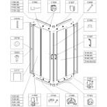 Element ruchomy do kabiny kwadratowej KN/TX5 90 cm, szkło hartowane W15, profil srebrny błyszczący Sanplast TX 660-E1356