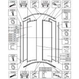 Element ruchomy-szkło hartowane do kabiny półokrągłej OV-KP4-II/EKO-S Sanplast EKOPLUS 660-E1224
