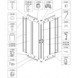Element stały do kabiny kwadratowej KN/TX4 80 cm, szkło hartowane Sanplast TX 660-E1349