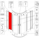 Element stały prosty do kabiny półokrągłej 90 cm, szkło hartowane Sanplast KP4/TX4 660-E1438