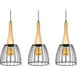 Lampa wisząca Azzardo TERATA AZ2949 3-punktowa czarna / drewno
