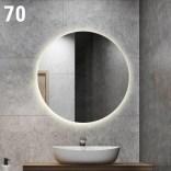 Lustro okrągłe LED 70x70 Etap GLOW LP-6 barwa ciepła, wł. bezdotykowy z prawej