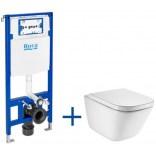 Miska WC bez kołnierza GAP SQUARE + deska WC + stelaż podtynkowy Roca DUPLO ONE A893104490