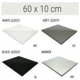Półka szklana 60x10 MCJ FLAT/BEND GA 600/10/WH glossy/mirror