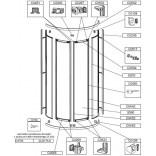 Profil poziomy drzwi, dolny, gięty do kabiny półokrągłej KNO4/ZDP Sanplast ZODIAK PLUS 660-C0565