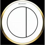 Przycisk uruchamiający meblowy do WC dwudzielny, pneumatyczny, ręczny Geberit TYP 10 116.057.KK.1 biały/ złoty