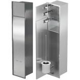Schowek na szczotkę i papier toaletowy z drzwiami do położenia płytek MCJ ZERO PW2TWC800 stal szlifowana LEWY