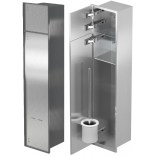 Schowek na szczotkę i papier toaletowy z drzwiami do położenia płytek do zabudowy ramka stal szlifowana MCJ PW2TWC800 LEWY
