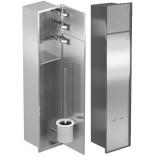 Schowek na szczotkę i papier toaletowy z drzwiami do położenia płytek do zabudowy ramka stal szlifowana MCJ PW2TWC800/R PRAWY