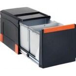 Sortownik do odpadów 36 l dwukomorowy, wysuwanie z frontem, do szafki o minimalnej szerokości 40 cm Franke CUBE 134.0055.274