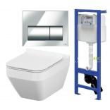 Stelaż podtynkowy HI-TEC+ miska zawieszana CREA + przycisk PRESTO + deska WC wolnoopadająca Cersanit  S701-223 prostokątna