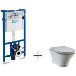 Stelaż podtynkowy + miska WC Nexo Rimless Maxi Clean podwieszana do zabudowy lekkiej Roca A8900900RB