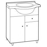 Szafka z umywalką 60 cm Deftrans KACPER 033-D-06508+1522 biała, DSM