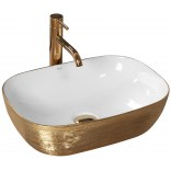 Umywalka nablatowa 47x34 Rea JENNY REA-U9652 złoto-biała