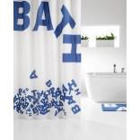 Zasłona prysznicowa tekstylna 180x200 cm Sealskin LITTERA 233021324 niebieska