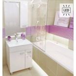 Zestaw: szafka z umywalką PLAN 80 cm z nóżkami + lustro z oświetleniem Deftrans CATANIA 034-Z-08004+1724 DSM biały