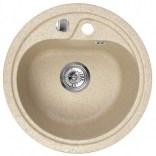 Zlewozmywak granitowy 1-komorowy okrągły 45 cm bez ociekacza Deante FIESTA ZRS 7813 piaskowy