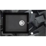 Zlewozmywak szklano-granitowy 86x50 Deante CAPELLA DIAMENT ZSC GB2C grafitowy metalik